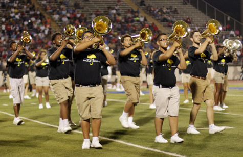 The band took the field for the first time with their new show at the Arlington football game.(Photo by Karla Estrada)