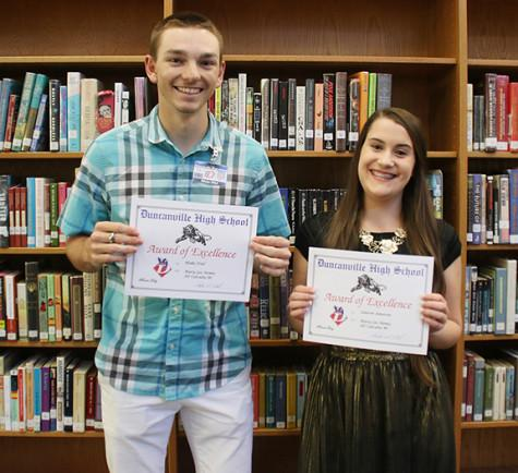 Lauren Jameson and Blake Dial pose with their awards. (Photo by Kate Hernandez)
